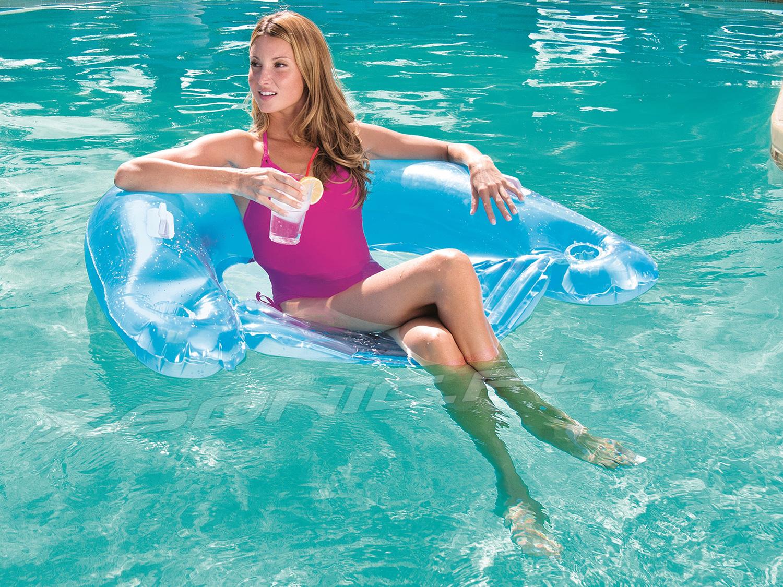 Fotel do pływania z rączkami i uchwytami na napoje 152 x 99 cm Bestway 43118