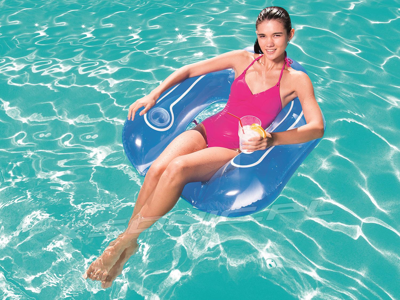 Fotel do pływania z oparciem i miejscem na napój 102 x 91 cm Bestway 43097