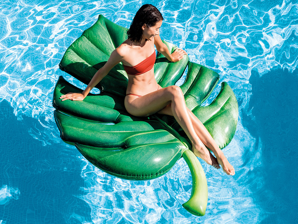 Duży dmuchany materac plażowy Liść Palmowy 213 x 142 cm INTEX 58782