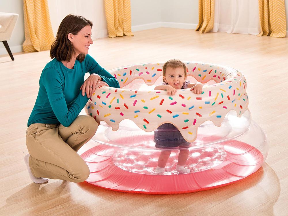 Kolorowy kojec dmuchany dla dzieci przezroczysty 127 x 61 cm Intex 48476