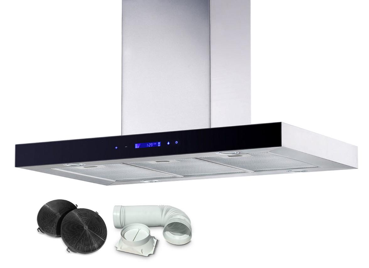 Okap kuchenny wyspowy 90cm BN-9010 INOX + szkło