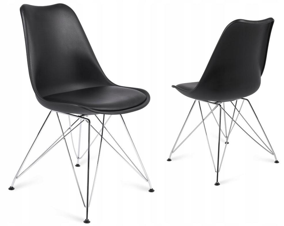 Nowoczesne krzesło skandynawskie czarne