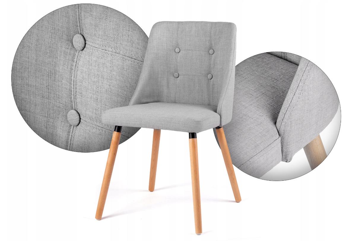 Klasyczne krzesło skandynawskie tapicerowane szare