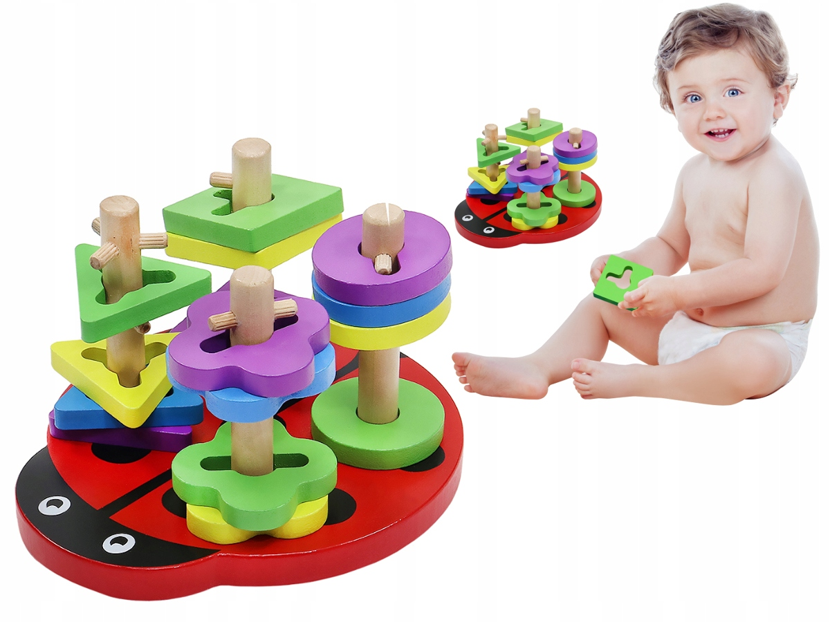 Sorter drewniane klocki dla dzieci do układania Biedronka