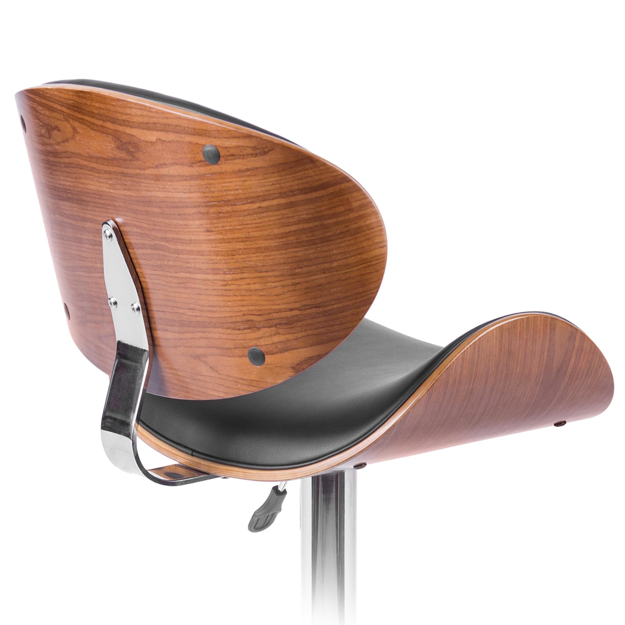 Elegancki hoker barowy z wyprofilowanym drewnianym siedzeniem i oparciem