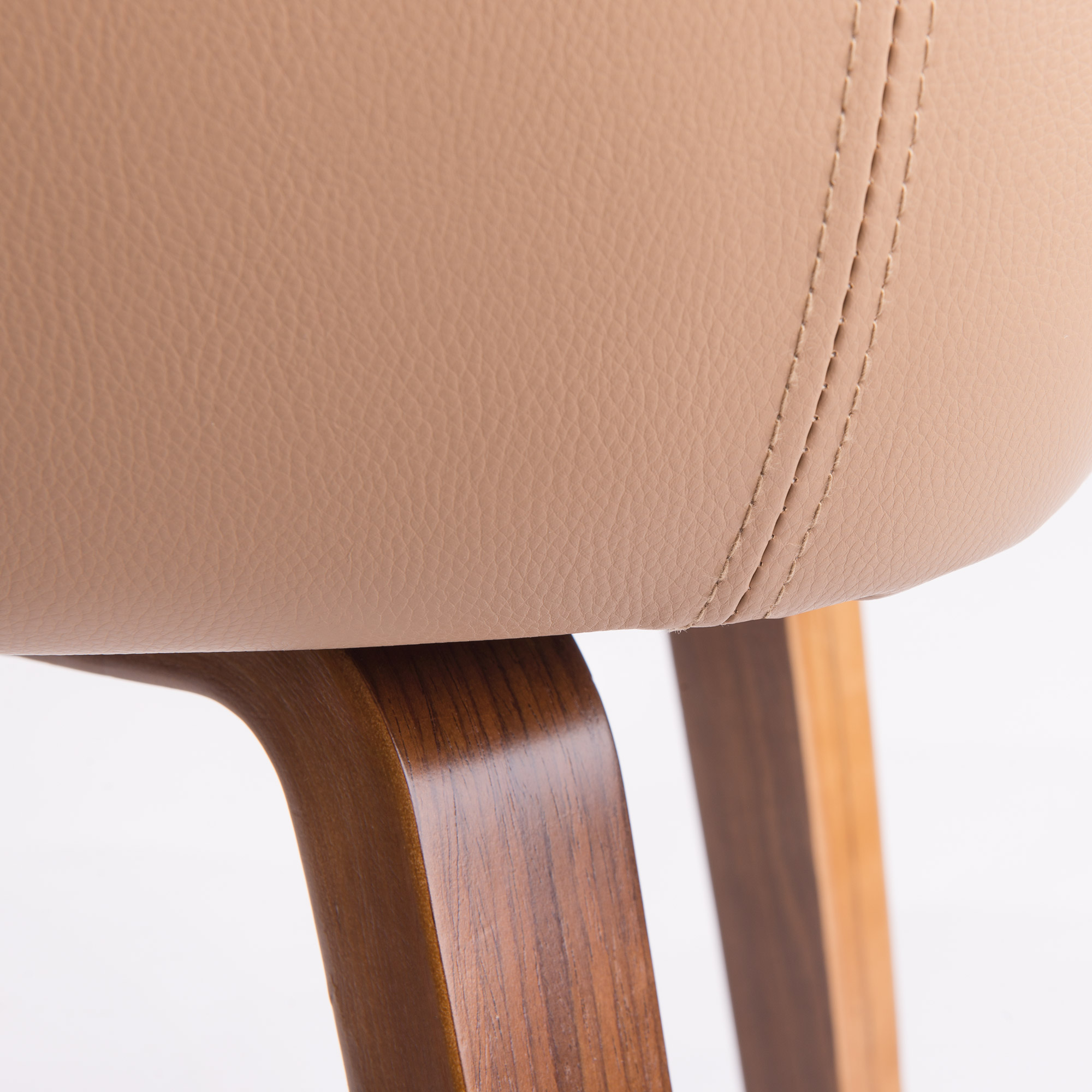Nowoczesne krzesło skandynawskie beżowe drewniane nogi