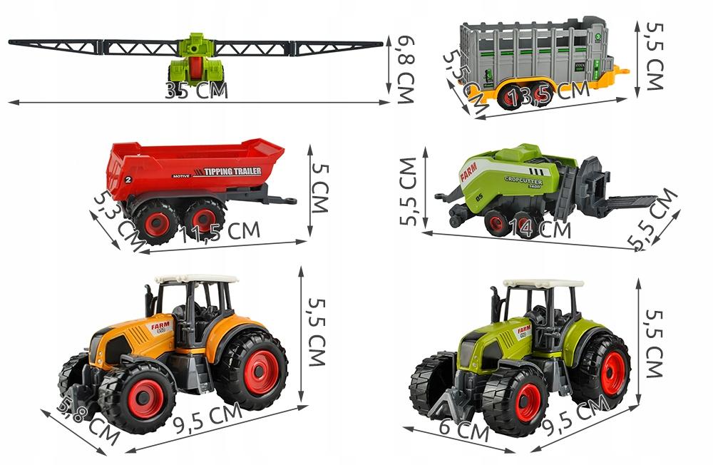 Zestaw zabawek pojazdy maszyny rolnicze