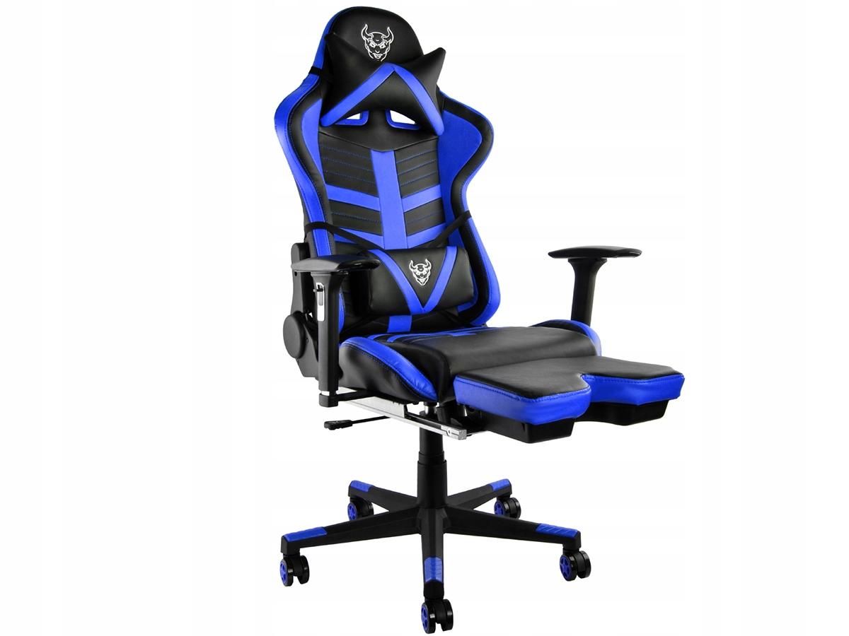 Fotel do grania biurowy gamingowy rozkładany podnóżek