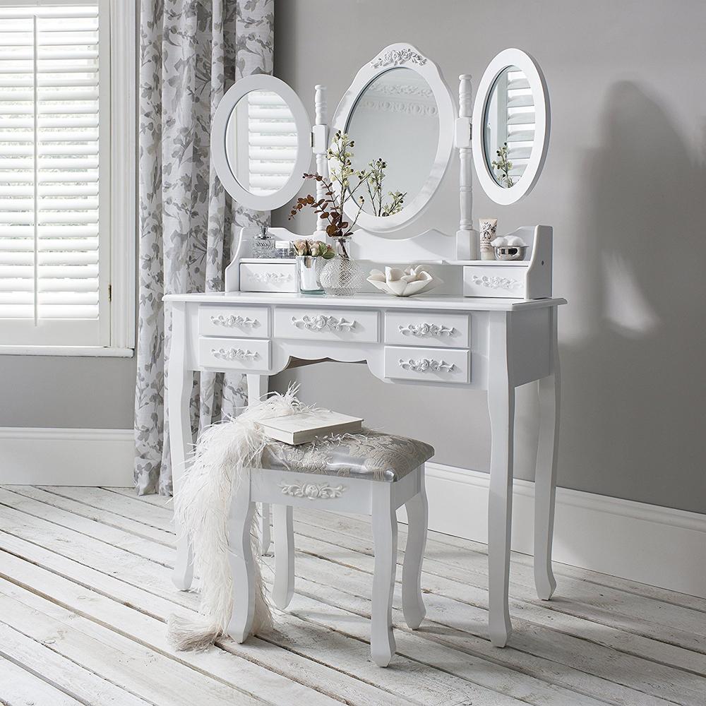 Toaletka dla kobiet 3 lustra 7 szuflad biała