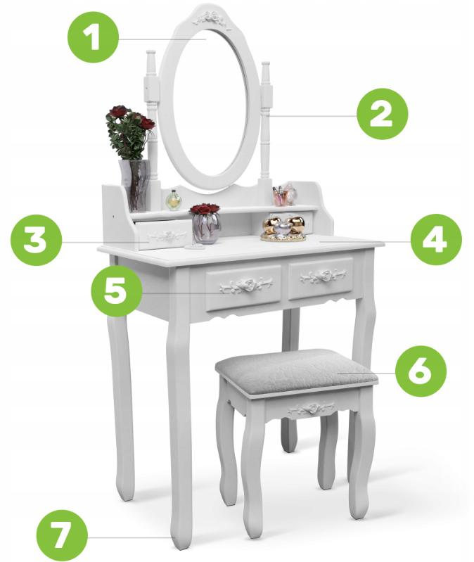 Toaletka z lustrem i taboretm do makijażu