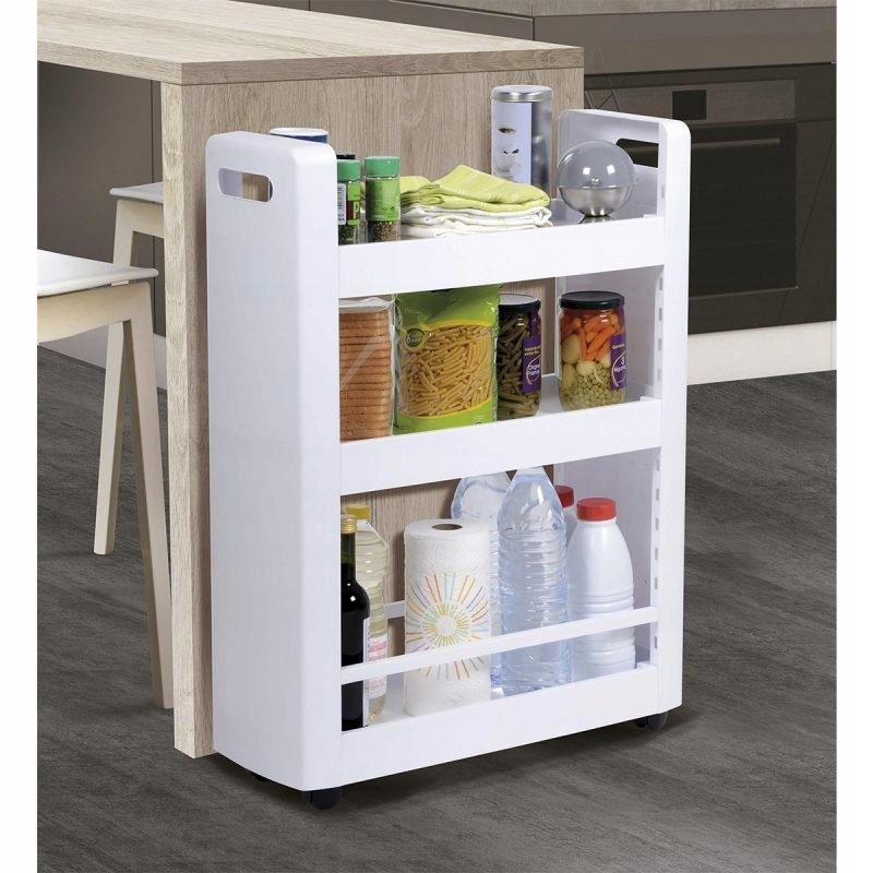 Organizer na kółkach z półkami dodatkowe miejsce w kuchni między szafkami