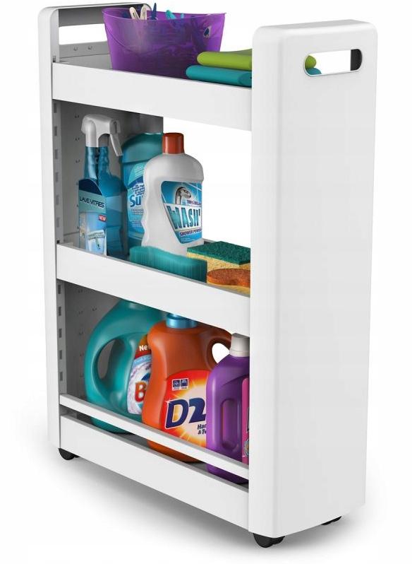 Szafka na kółkach miejsce na środki czystości do sprzątania