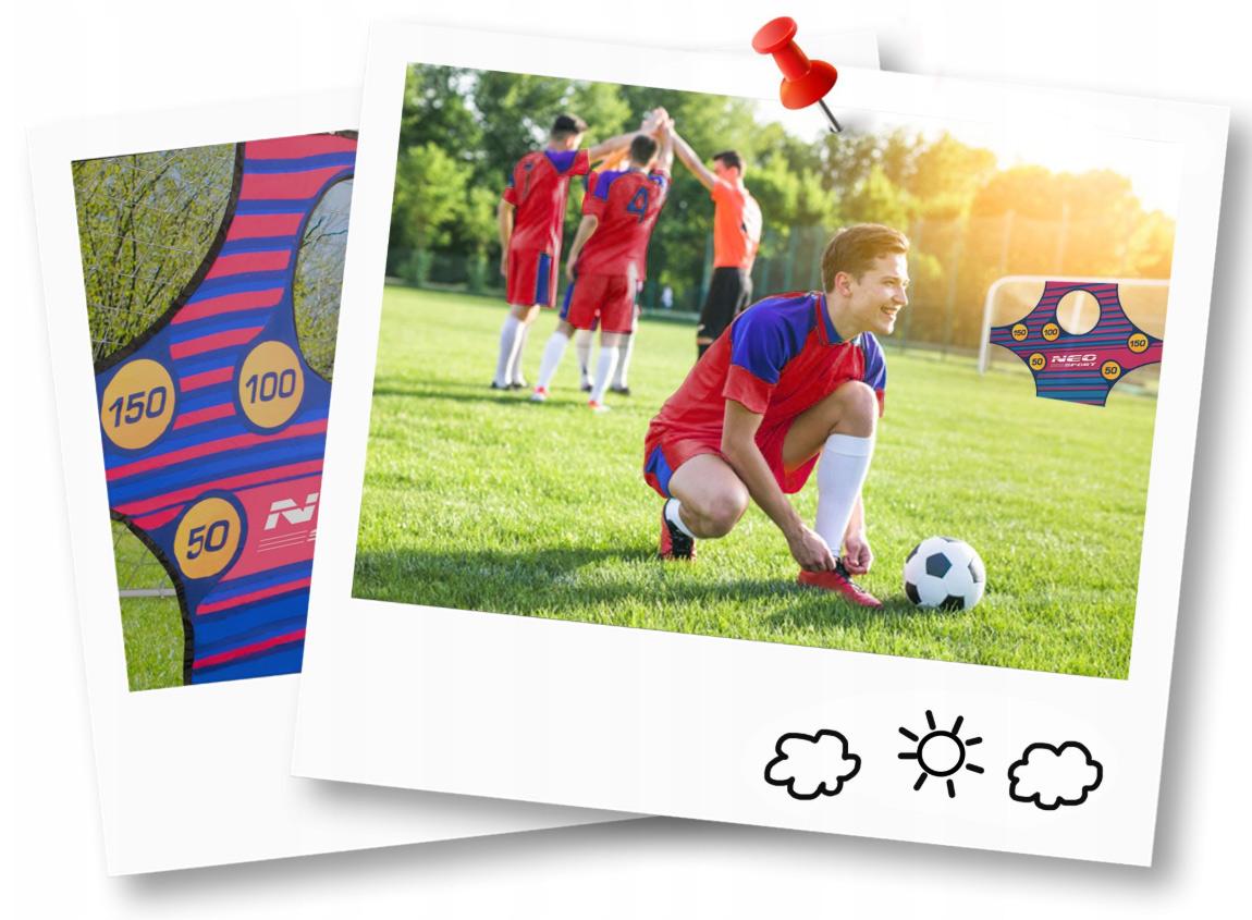 Duża bramka do piłki nożnej piłkarska 245 x 155 x 80 cm mata celownicza do grania w ogrodzie