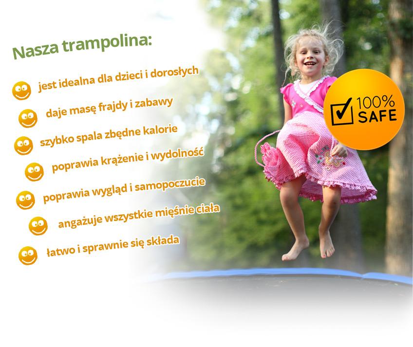 Trampolina ogrodowa 13ft/404cm z siatką wewnętrzną i drabinką do wchodzenia