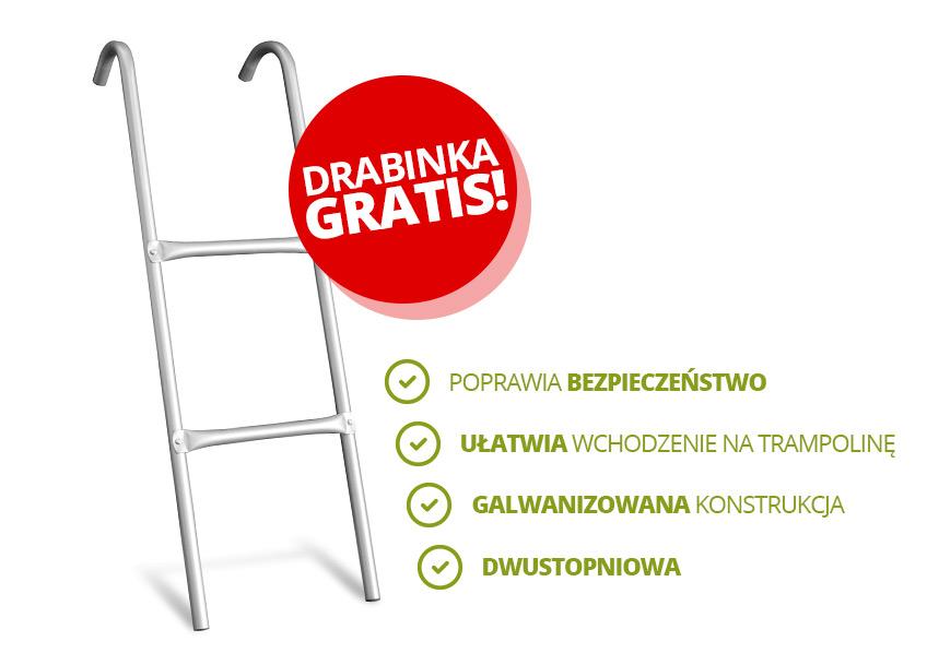 Trampolina ogrodowa 13ft/404cm z siatką wewnętrzną i drabinką w prezencie