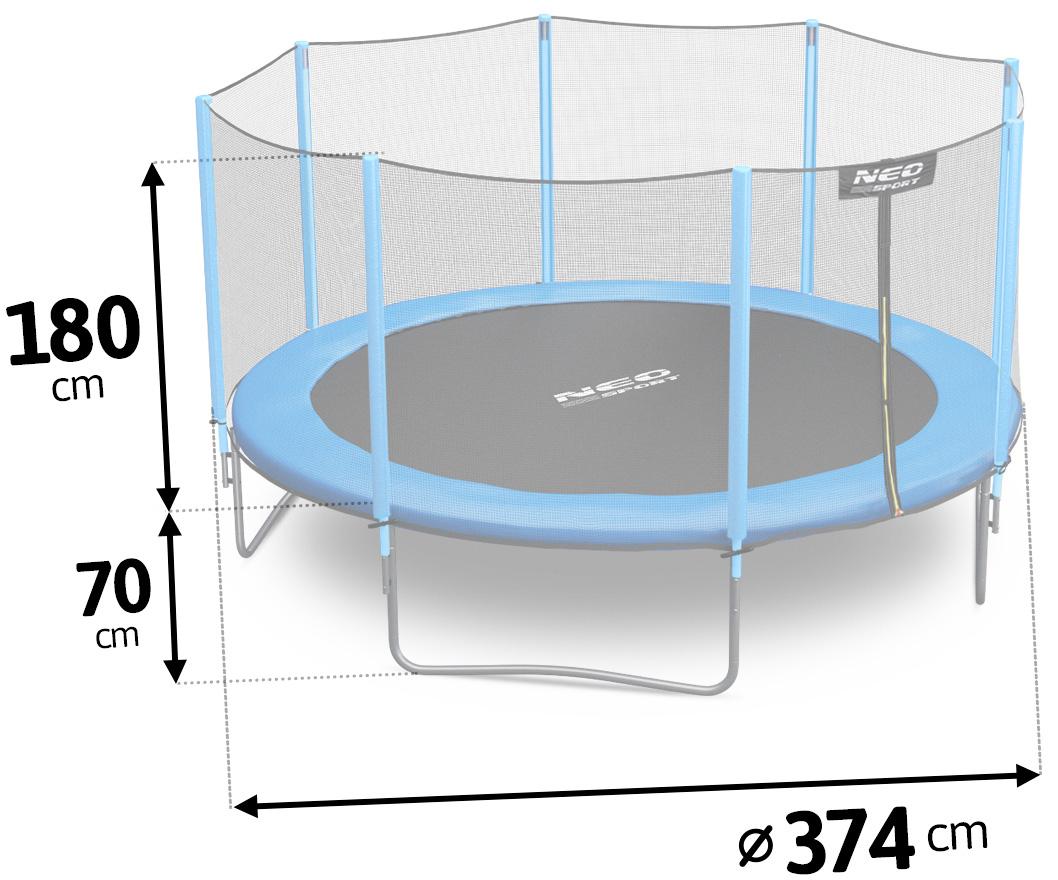 Trampolina ogrodowa 12ft/374cm z siatką zewnętrzną i drabinką dla dzieci
