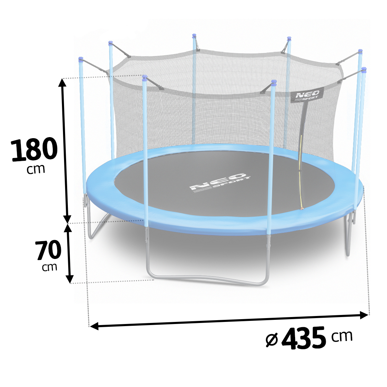 Trampolina ogrodowa 14ft/435cm dla dzieci siatką wewnętrzną drabinka