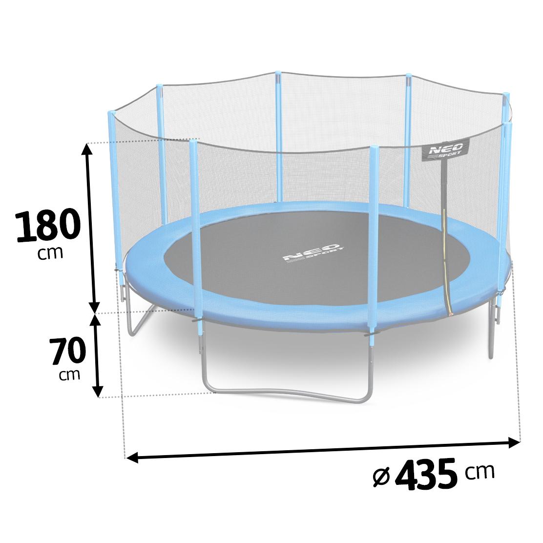 Trampolina ogrodowa 14ft/435 z zewnętrzną siatką ochronną drabinka GRATIS bezpieczna