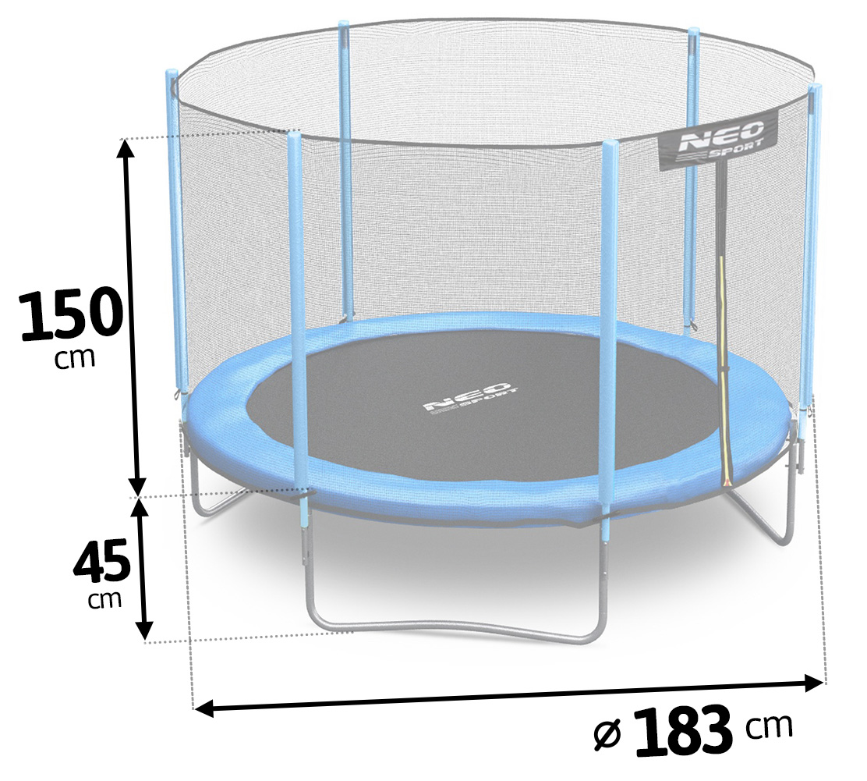 Trampolina ogrodowa 6ft/183cm z siatką zewnętrzną drabinka dla dzieci