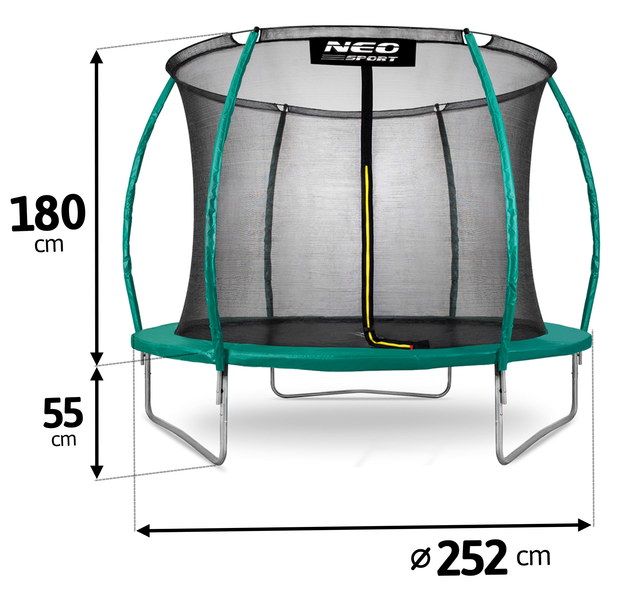 Trampolina ogrodowa 8ft/252cm z siatką wewnętrzną i drabinką dla dzieci