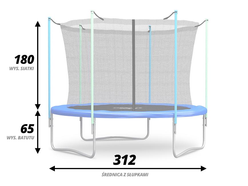 Trampolina ogrodowa dla dzieci 312 cm z siatką wewnętrzną drabinka GRATIS