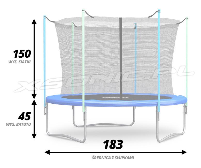 Trampolina ogrodowa 6ft/183cm z siatką wewnętrzną drabinka z gwarancją dla dzieci