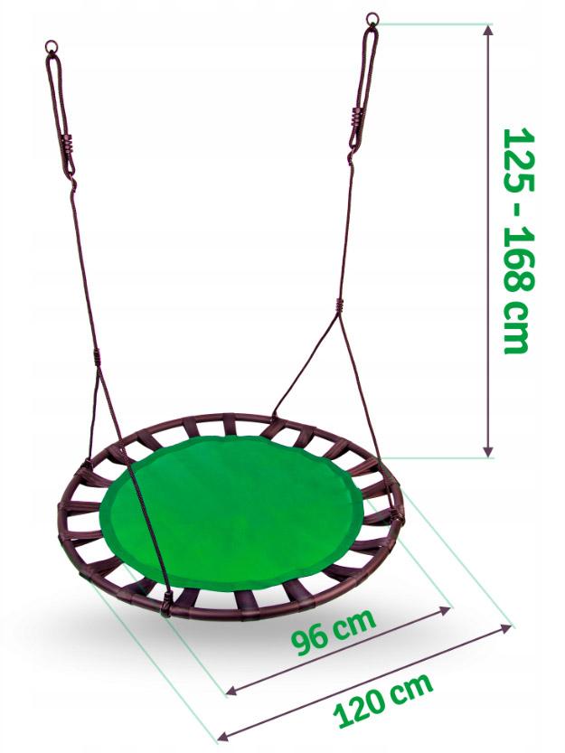 Duża huśtawka ogrodowa koło do 150kg dla dzieci bocianie gniazdo SWINGO XXL 120cm