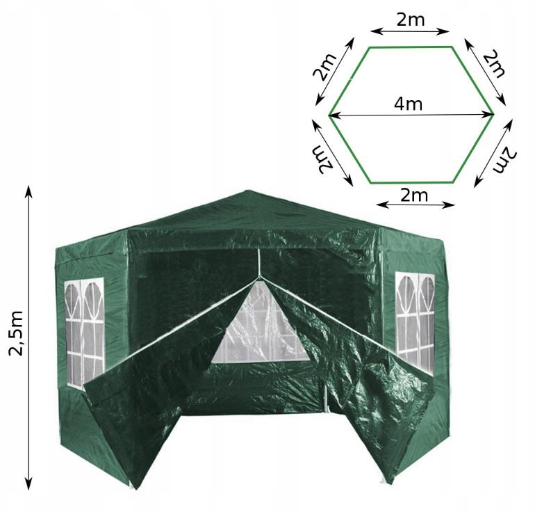 Pawilon ogrodowy namiot 6 ścian z oknami zamykany na suwak