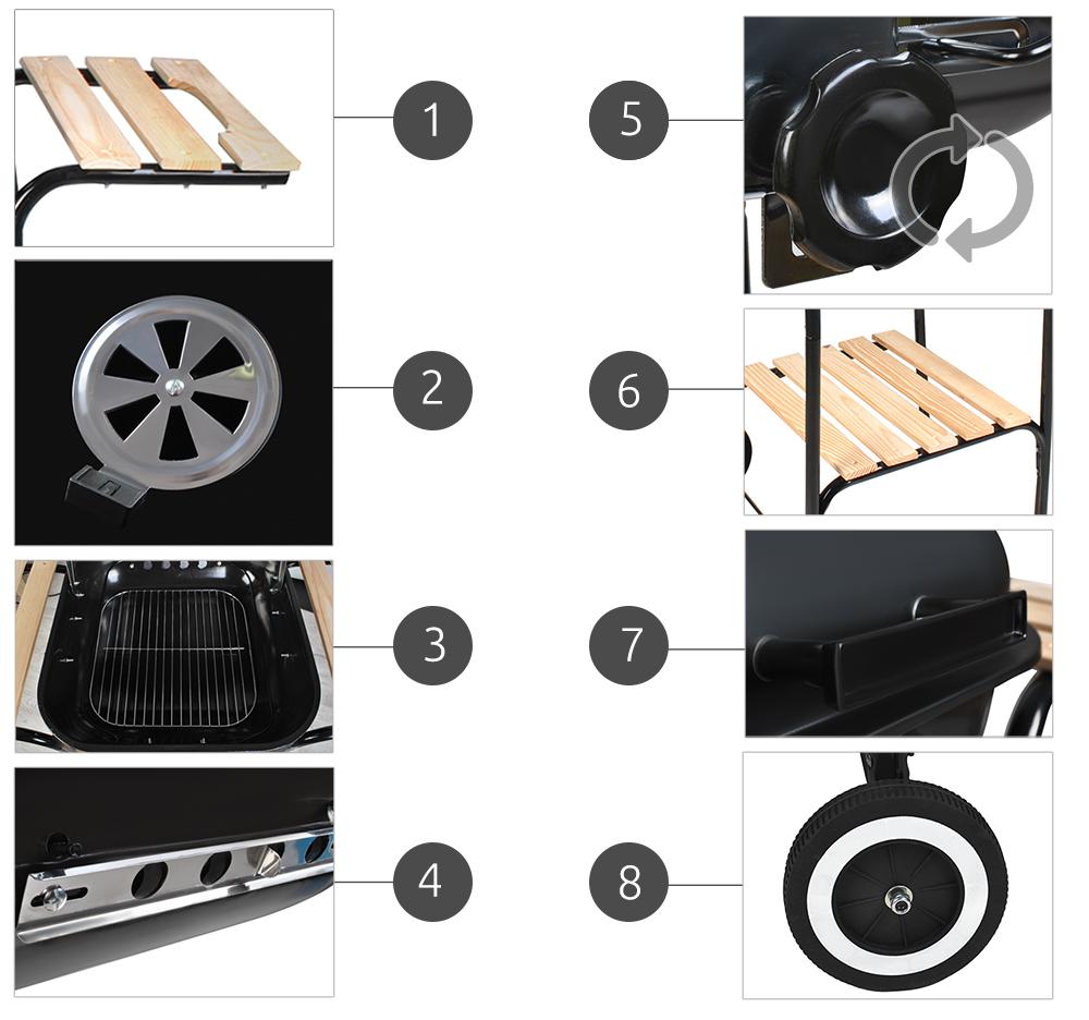 Grill kwadratowy na kółkach z pokrywą i półkami