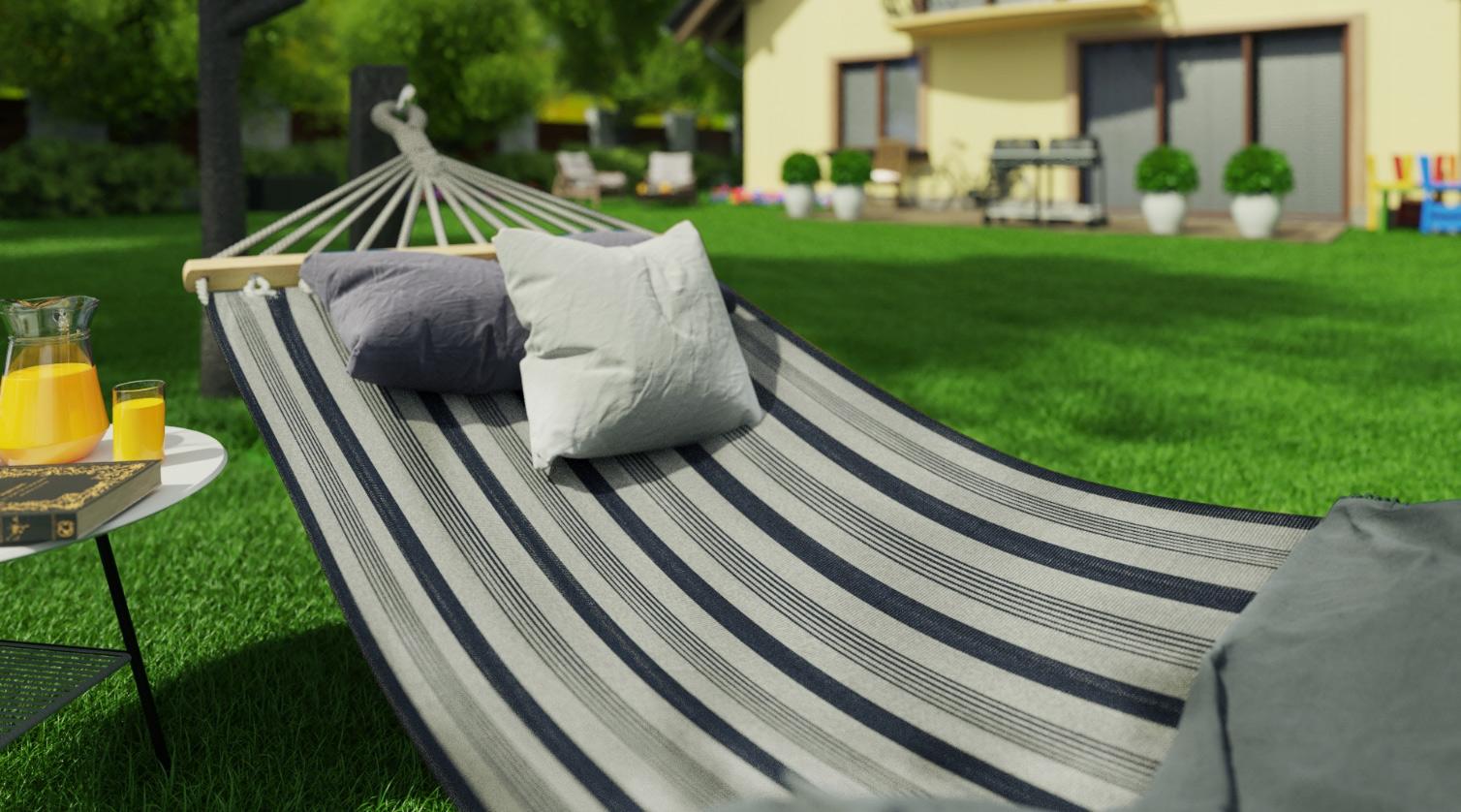 Hamak ogrodowy bujak z tkaniny 200 x 100cm jednoosobowy grube liny